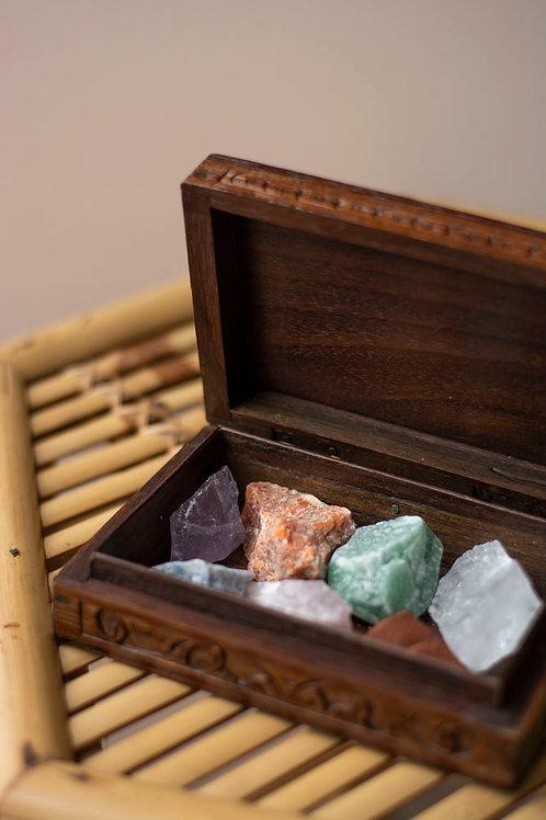 Chakra set in houten doosje