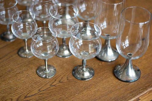 Set glazen zilveren poot