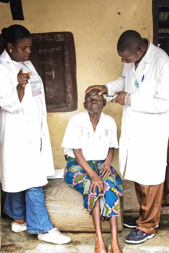 Doctors came to her village to perform eye tests...