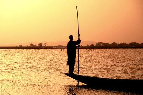 suzanne porter limited edition photo art photography travel mali river niger pirogue sunset africa orange
