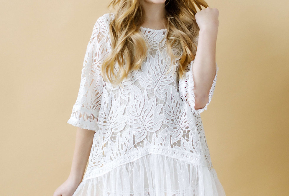 bohemian white lace flower girl dress