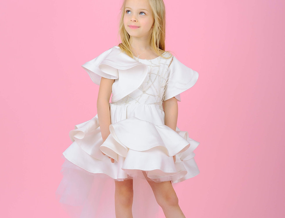 frilly flower girl dress with train