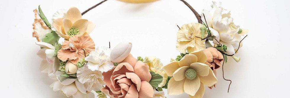 beige flower bridal halo
