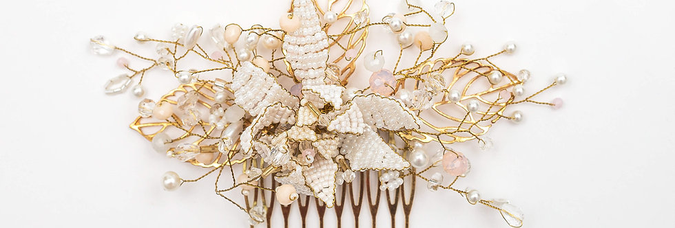 gold white ivory beading hair comb