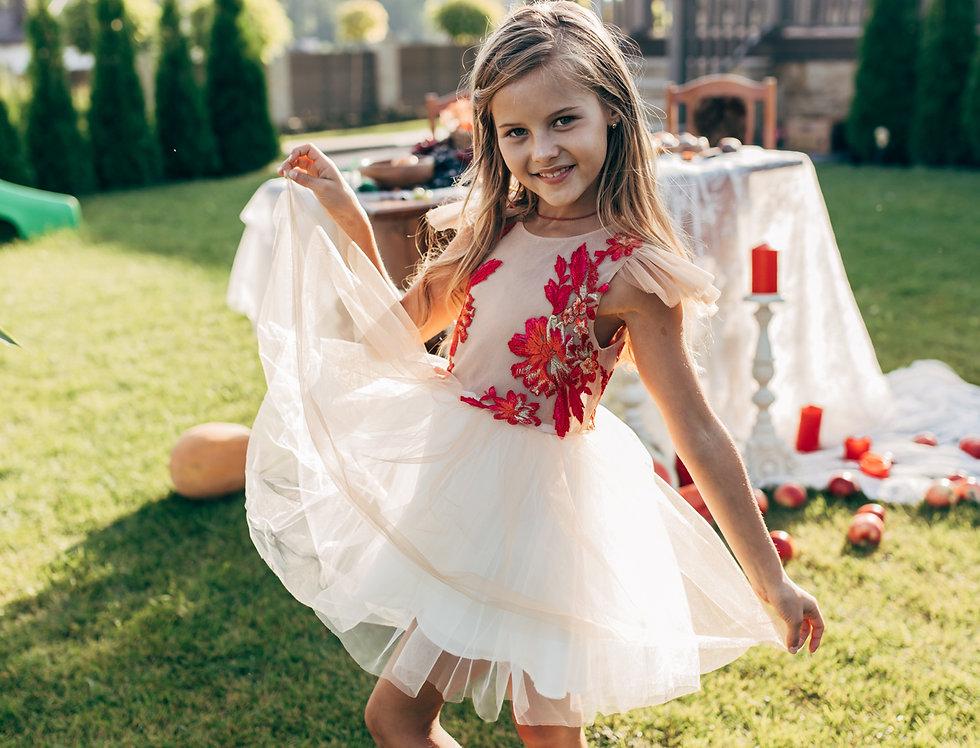 beige red flower girl dress