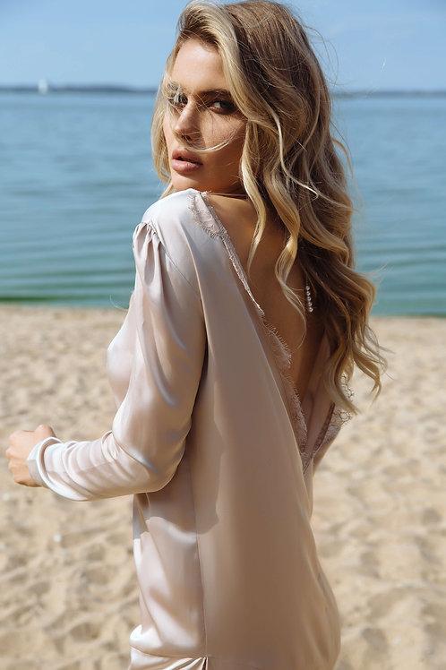 beige satin night gown