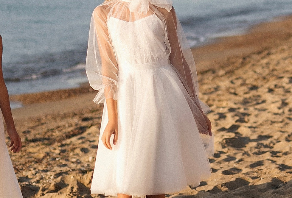 flower girl dress with tulle sleeves