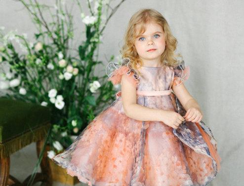 peach floral girls dress
