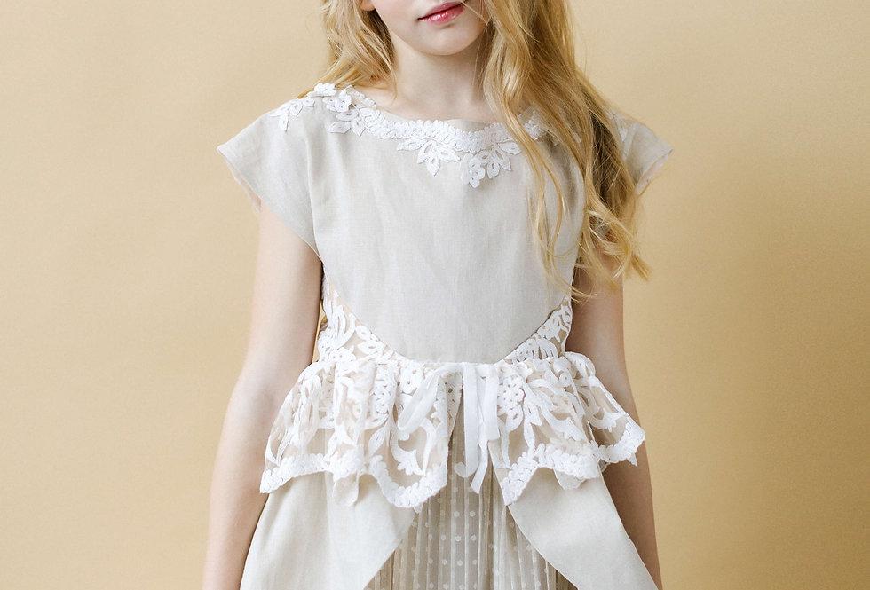 linen flower girl dress