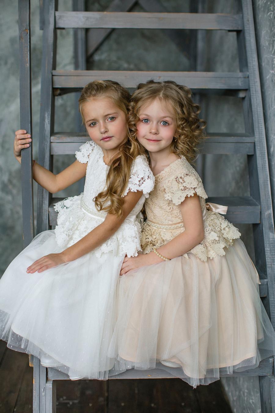 lace girls creme dress