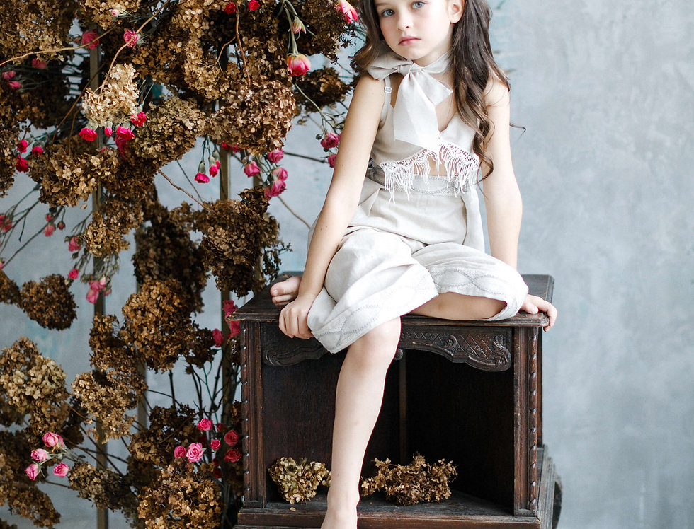 linen girls onesie