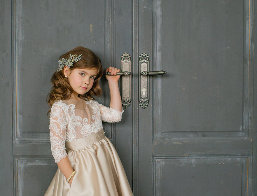 long sleeved flower girl dress