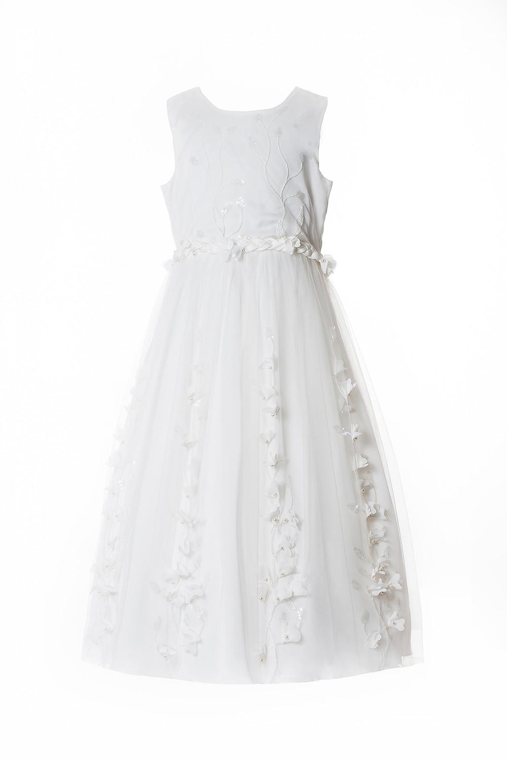 white flower girl dress removable train