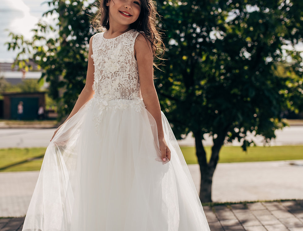 lace maxi flower girl dress