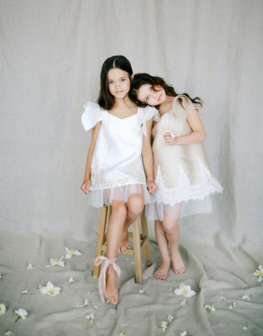 Satin Flower Girl Dresses with Oversized Sleeves