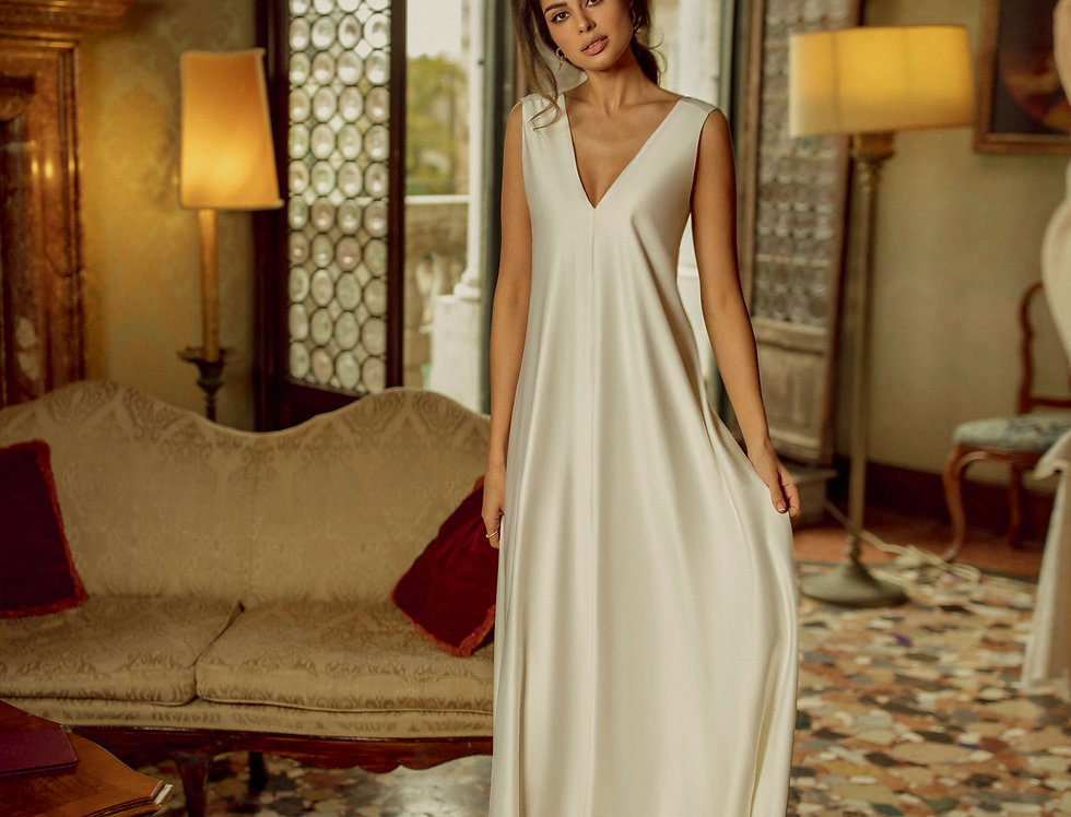 loose fit satin wedding gown
