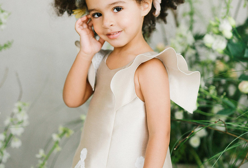 satin gold flower girl dress