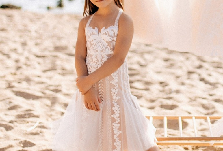 lace flower girl dress on straps