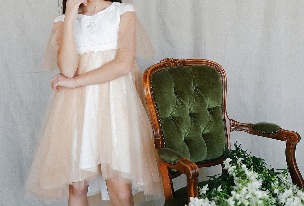 beige ceremony girl's dress