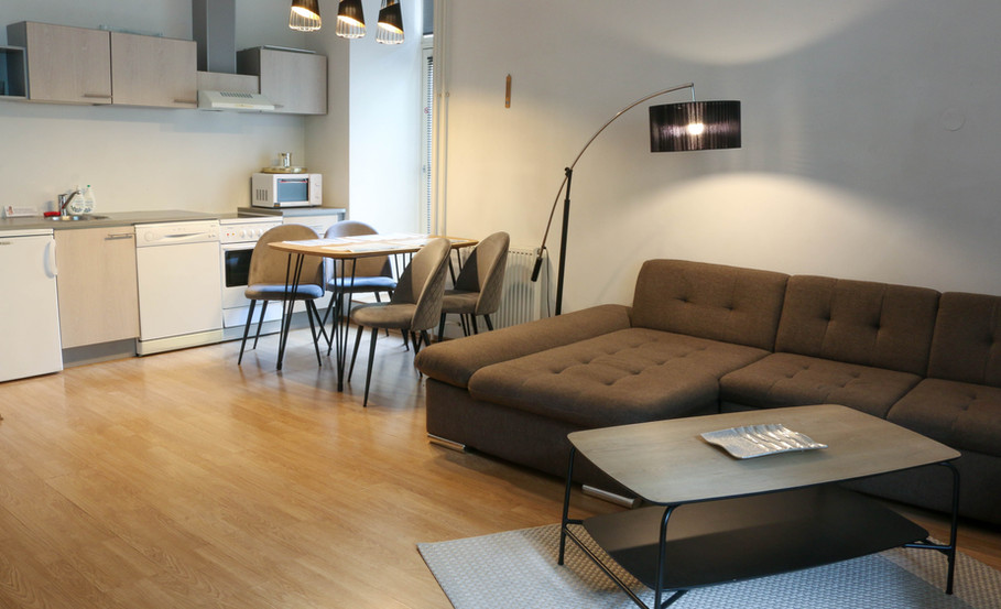 Sofa and dining area