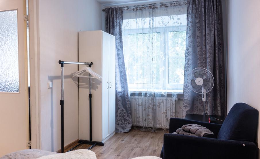 Bedroom closet, fan