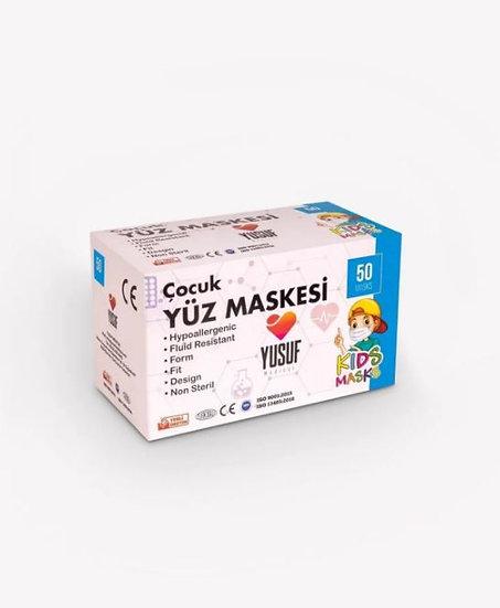 Yusuf Medikal_Çocuk_Maske 50'li 3 Katlı Lastikli