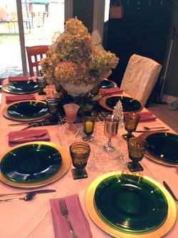 Beautifully set dinning table