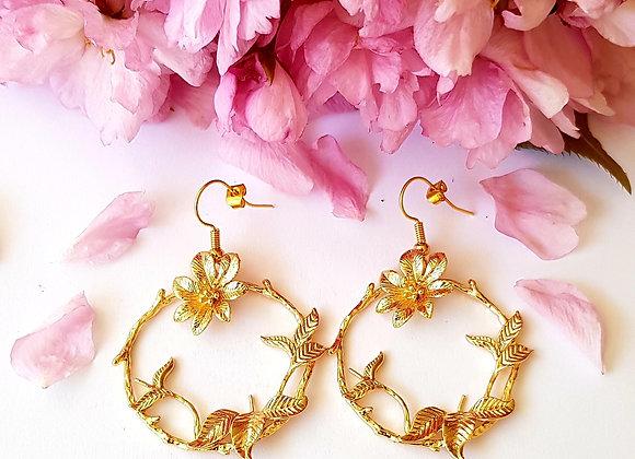 Créoles fleurs plaqué or
