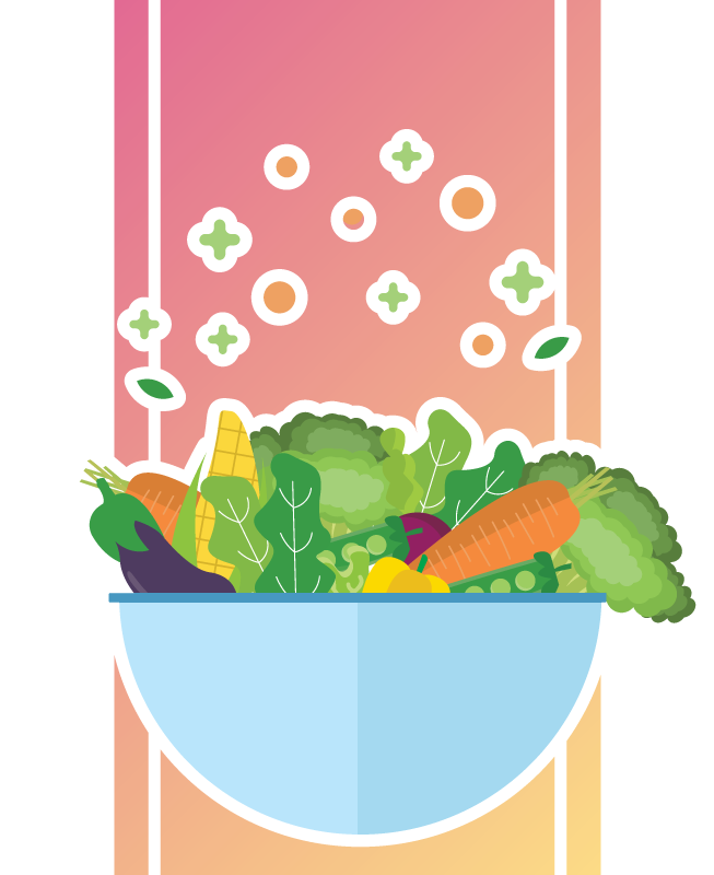 Pote com uma salada diversificada.