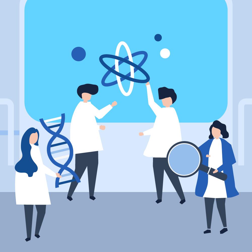 equipe de cientistas trabalhando em um laboratório com tecnologia de ponta