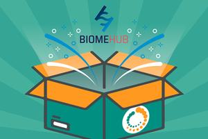 marca da empresa BiomeHub saindo de dentro da caixa com a marca da Neoprospecta