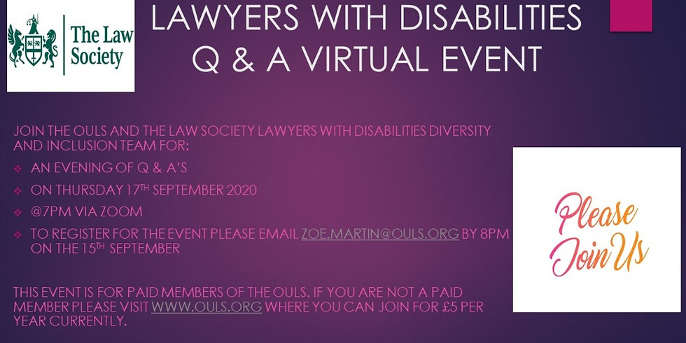 Lawyers With Disabilities Q & A Virtual Event