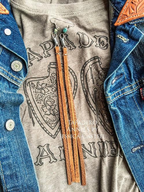Long Leather Rein Chain Earring