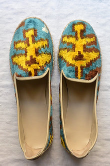 Velvet Ikat & Leather Loafer