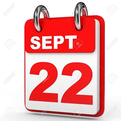 September 22nd 2018 Class - 6:30 PM