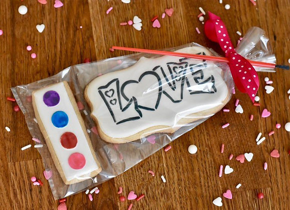 LOVE Paint Your Own Watercolor Cookie