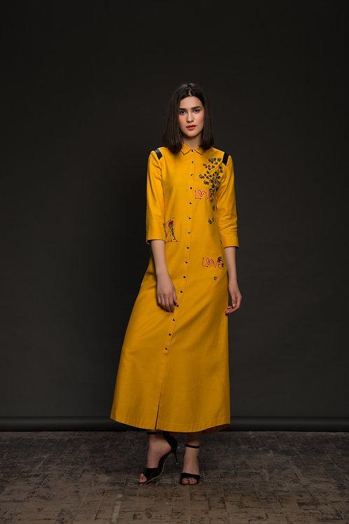 Coriander Love Long Shirt Dress