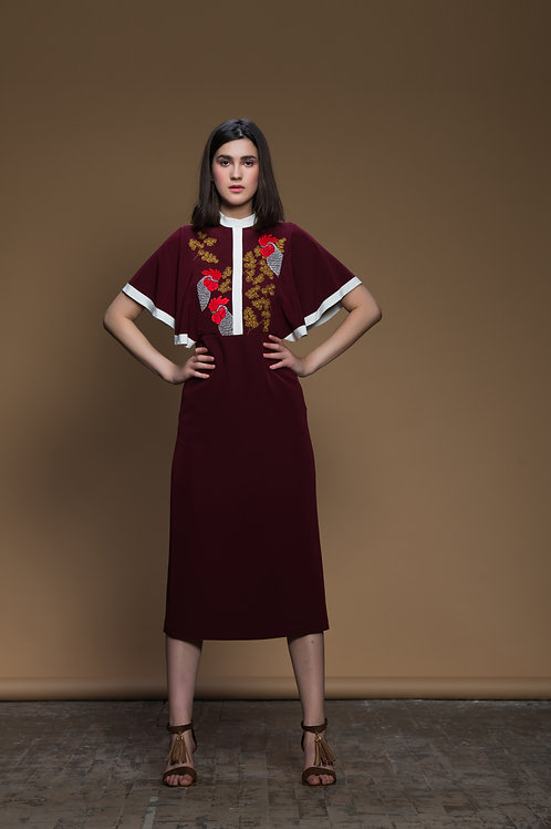 Branches With Rooster Frill Sleeves Dress