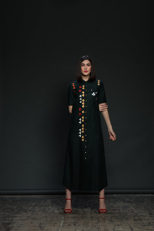 Playing Cards Motif Long Shirt Dress