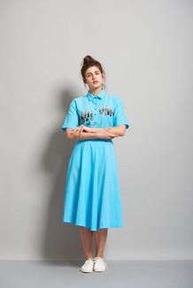 Lipstick Shirt With Midi Skirt