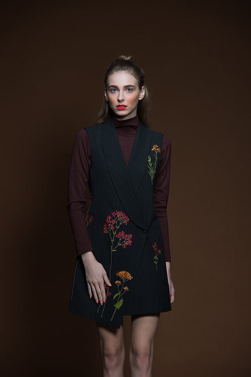 Botanical Overlapped Sleeveless Jacket Dress