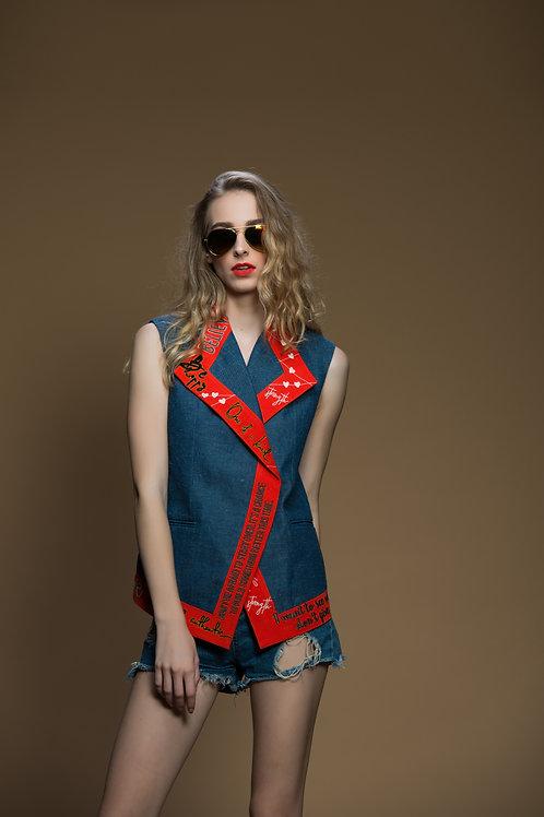 Overlap Colour Block Quotes Sleeveless Jacket