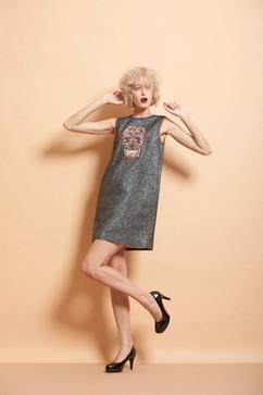 Skull Cut Sleeves Mini Dress