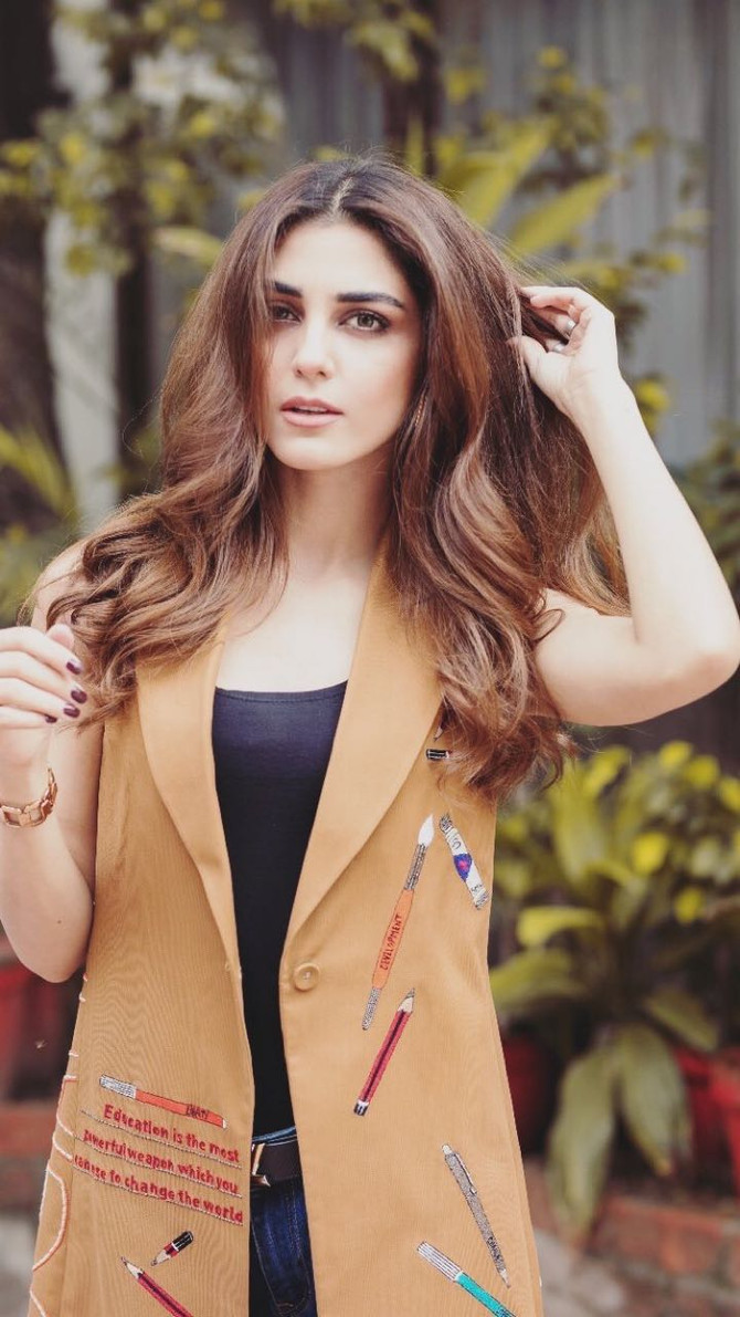 "Lovely actor Maya Ali wearing our ""educate sleeveless jacket"" from SS18 collection #shahinmannan #ma"