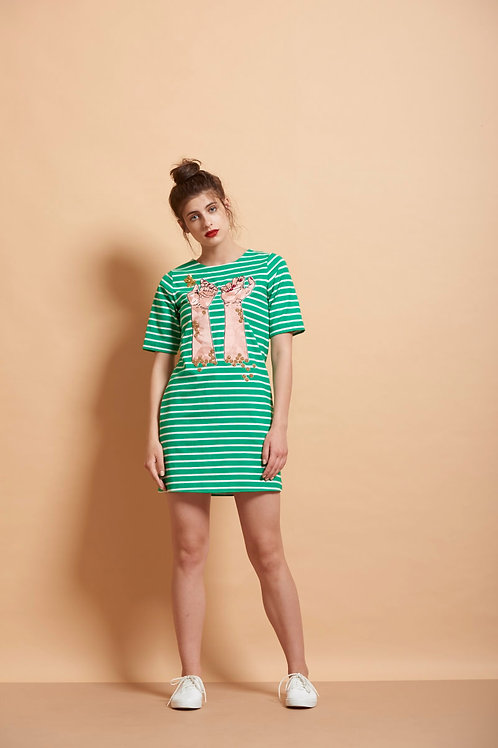 Honeycomb Hands Striped T Shirt Dress