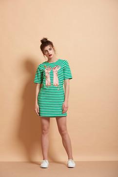 Honeycomb Hands Striped T Shirt Dress