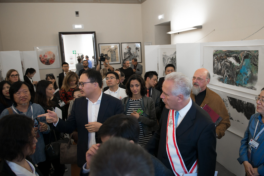 Eugenio Giani ,Paolo del Bianco , Gianni Zhang, ZAI, Zhong Art International 中国宣纸与绘画意大利展览在意大利佛罗伦萨隆重召开