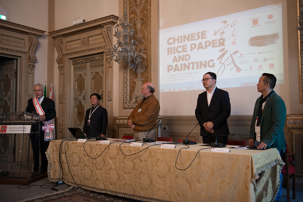 Eugenio Giani , Gianni Zhang, ZAI, Zhong Art International中国宣纸与绘画意大利展览在意大利佛罗伦萨隆重召开