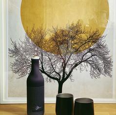 Weinkühler Lakritz und Edelstahl Weinbecher in Schwarz