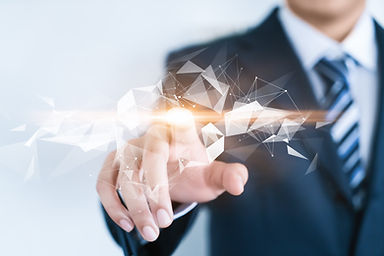 A businessman is touching an abstract space. Compute science, technology, business, intern